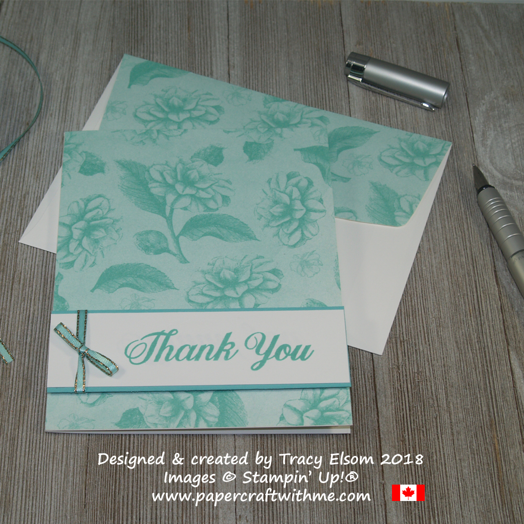 Thank you card using sentiment from the Daily Delight Stamp Set and a blue rose design from the Tea Room Specialty Designer Series Paper from Stampin' Up!