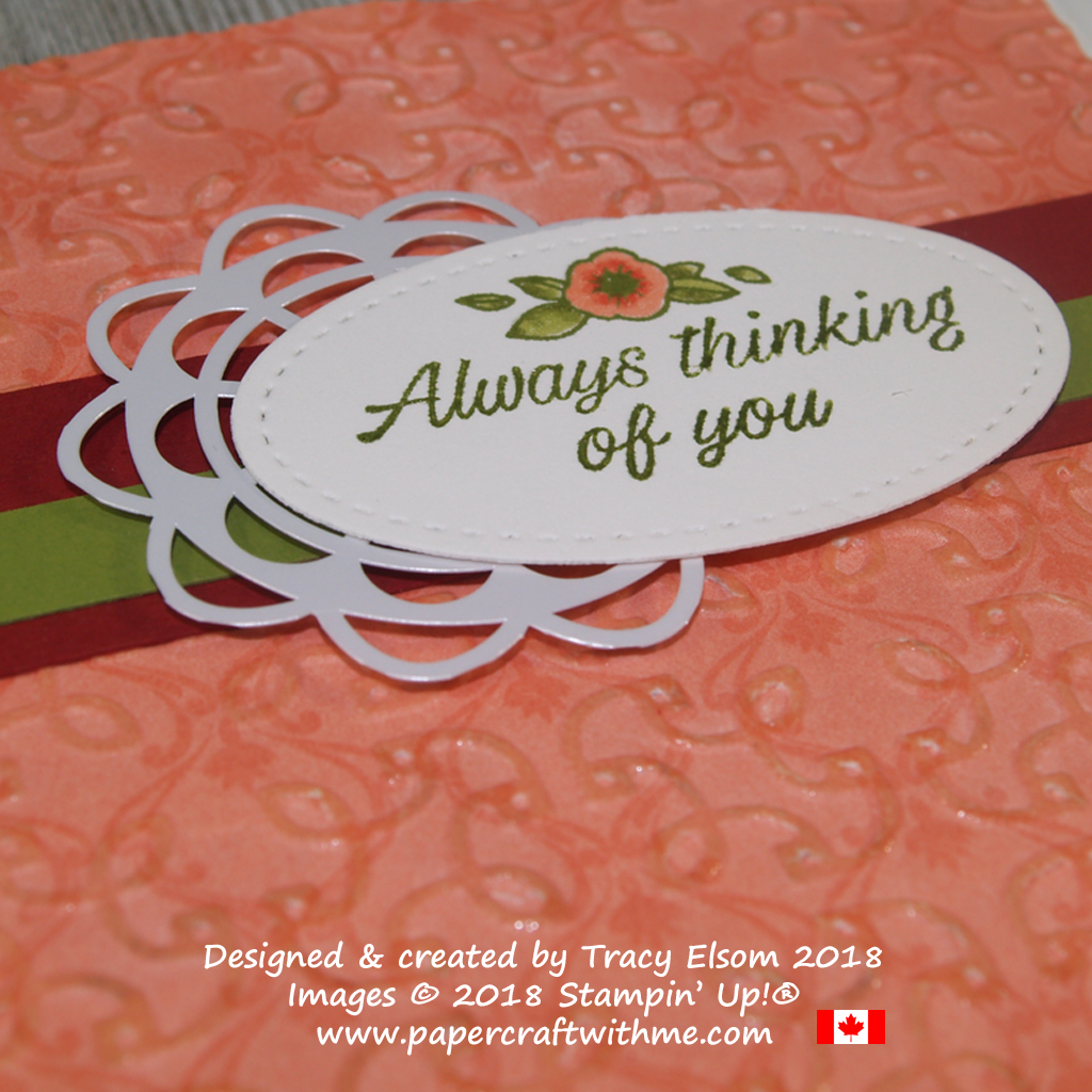 Close up of double-embossed 'thinking of you card' created using the Garden Trellis Embossing Folder and Accented Blooms Stamp Set from Stampin' Up!