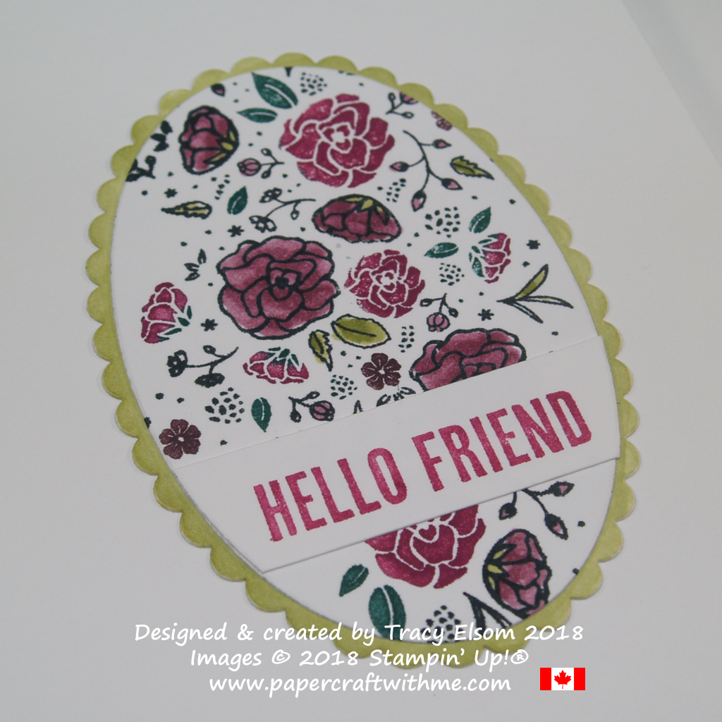 Close up of floral panel created using the Wood Words Stamp Set from Stampin' Up!