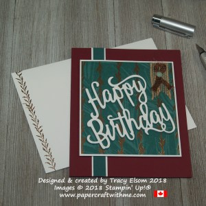 'Use your scraps' was in my mind when I designed this masculine birthday card with shadow layered Happy Birthday die-cut from Stampin' Up!