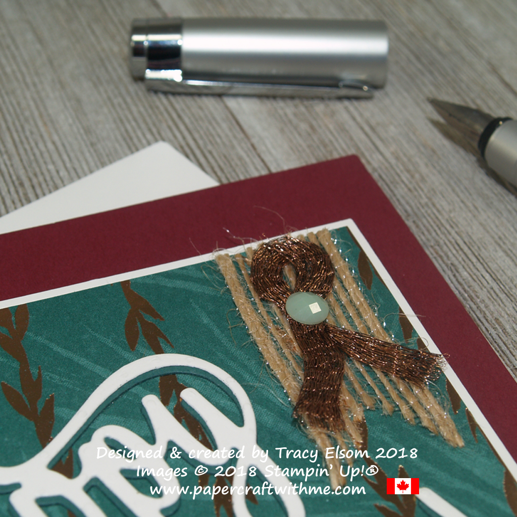 Close up of embellishment for masculine birthday card