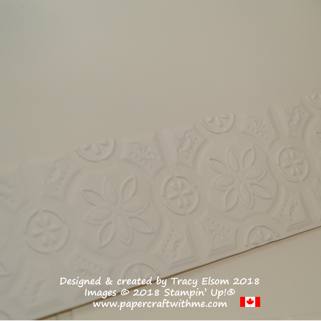 Close up of envelope embossed using the Tin Tile Dynamic Textured Impressions Embossing Folder from Stampin' Up!