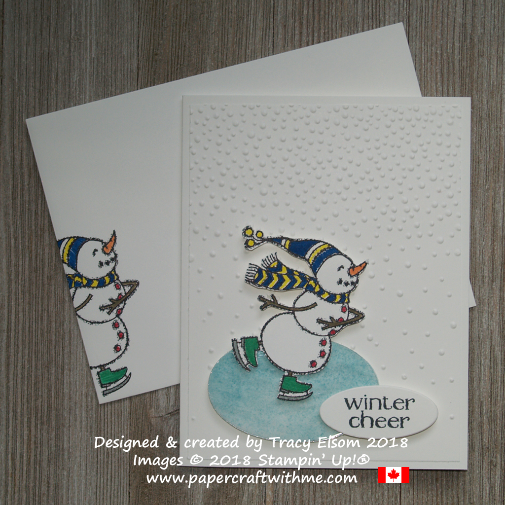 Winter cheer card with pond skater snowman created using the Spirited Snowmen Stamp Set from Stampin' Up!