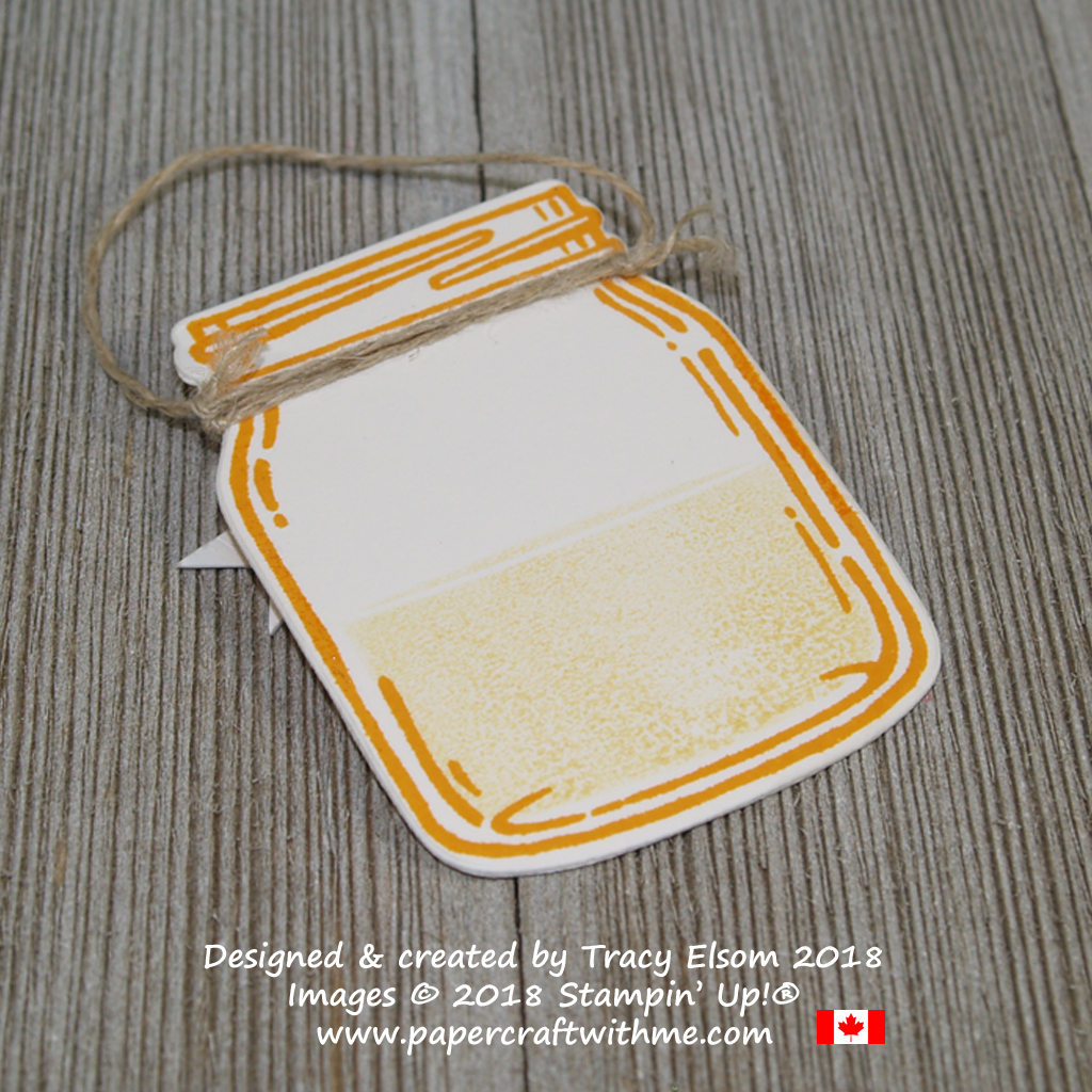Back of jam jar shaped gift tag created using the Jar of Love Stamp Set from Stampin' Up!