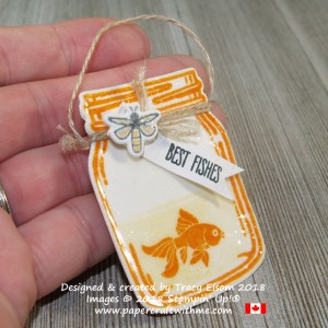 'Best fishes' jam jar shaped gift tag created using the Jar of Love Stamp Set from Stampin' Up!