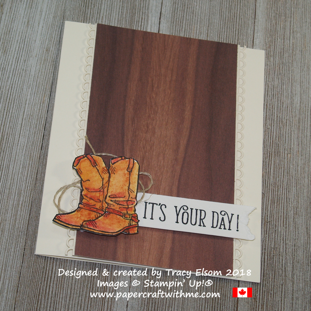 Alternate version of a masculine birthday card featuring watercoloured cowboy boots from the Country Livin' Stamp Set from Stampin' Up!