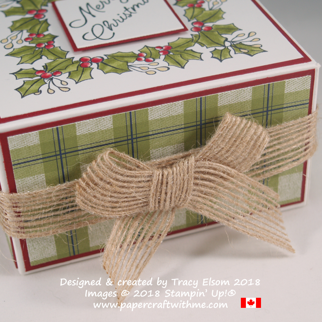 "'Bunny ears bow' using 5/8"" burlap ribbon wrapped around a Christmas box"