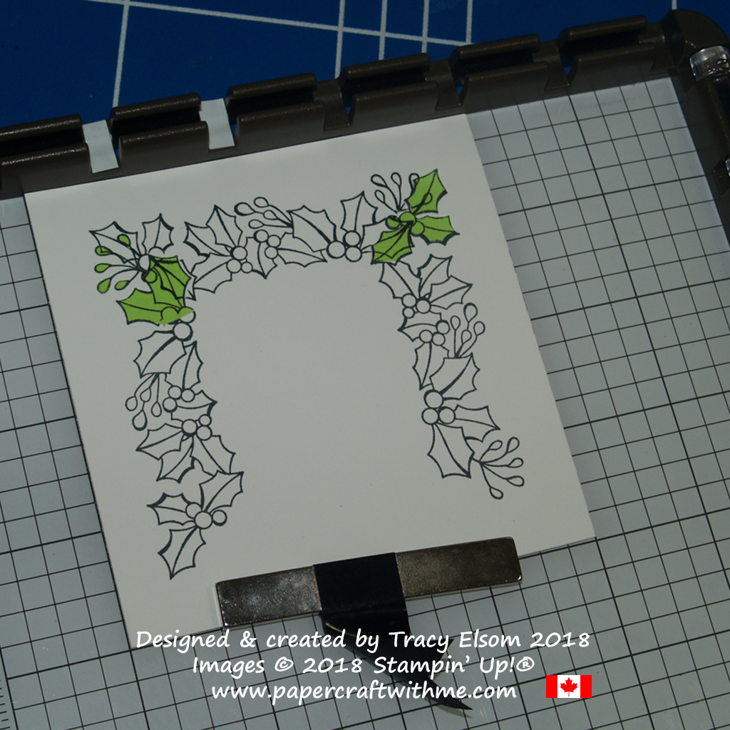 Masking and stamping a square holly wreath design using the Stamparatus and Blended Seasons Stamp Set from Stampin' Up!