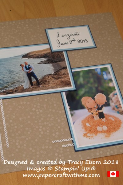 Beach wedding scrapbook page with coordinating paper, card and die-cut pieces from Stampin' Up!
