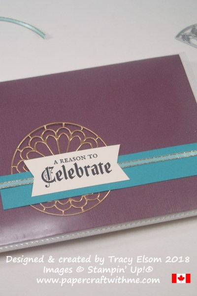 Pocket photo album with copper foil die-cut element and sentiment from the Painted Glass Stamp Set from Stampin' Up!