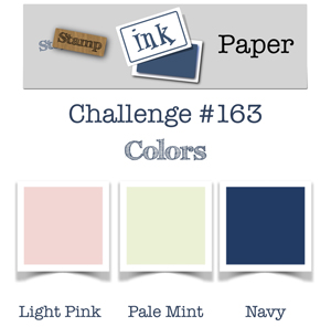 Logo for the Stamp Ink Paper Challenge #163 - colours (light pink, pale mint, navy) August 14-19, 2018