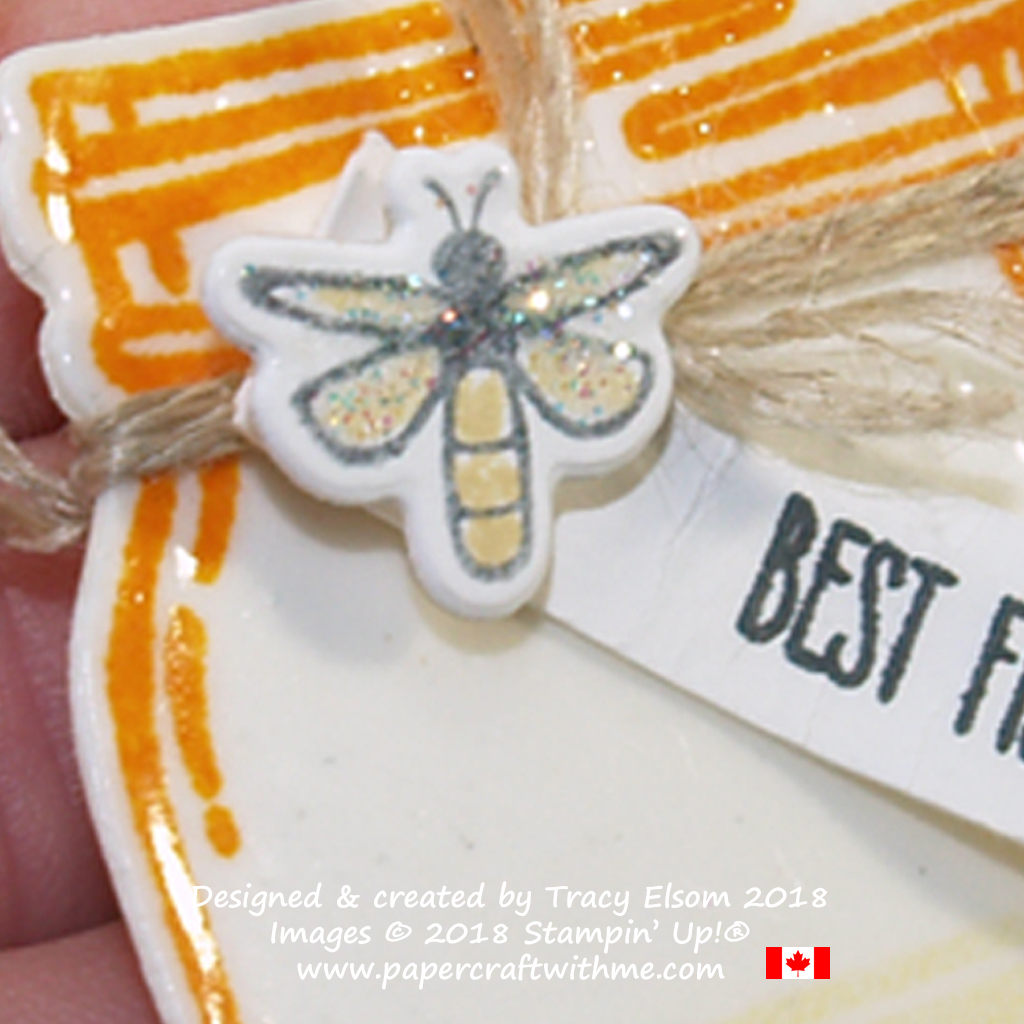 Embellishment detail on 'best fishes' jam jar shaped gift tag created using the Jar of Love Stamp Set from Stampin' Up!