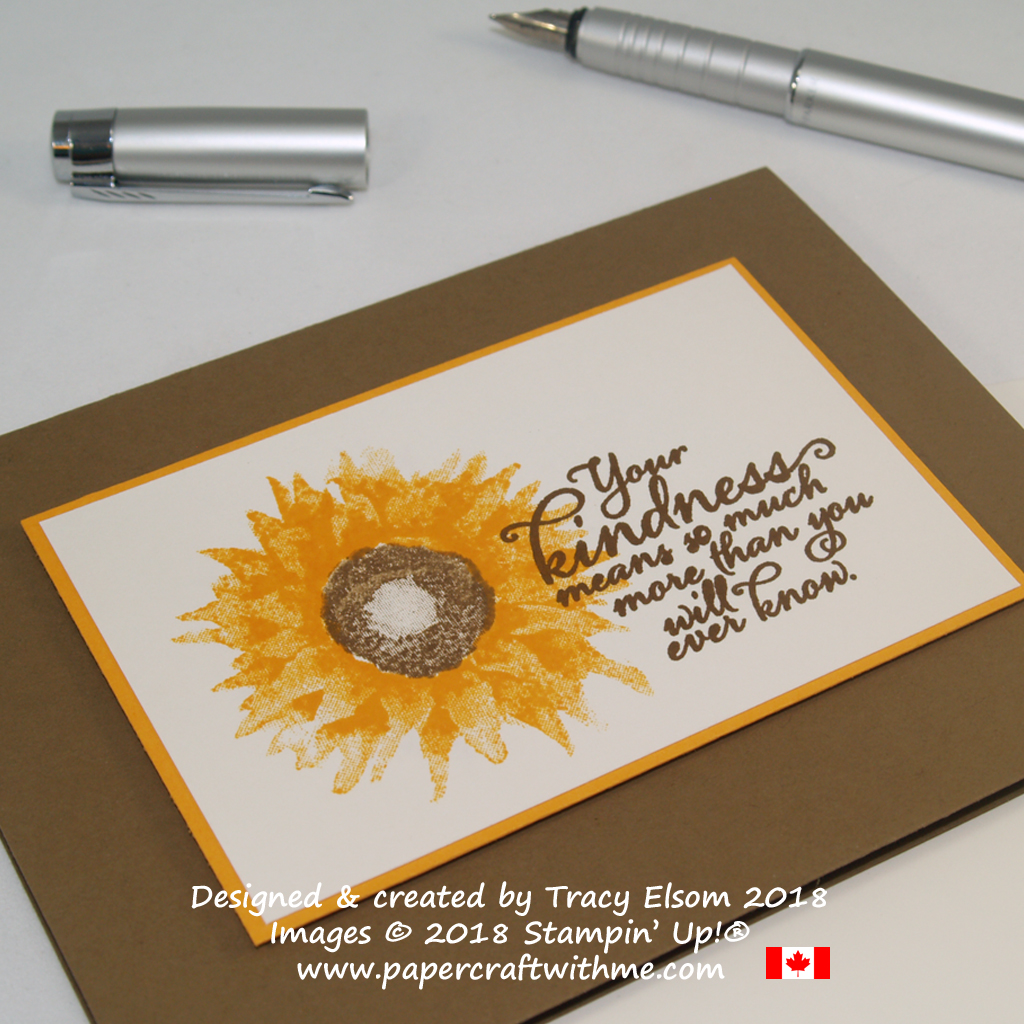 Close up of your kindness card with sunflower image created using the Painted Harvest Stamp Set from Stampin' Up!