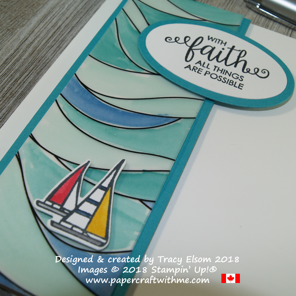 Close up of faith card featuring an image and sentiment from the Lilypad Lake and Ribbon of Courage Stamp Sets. The water background is from the Graceful Glass Designer Vellum from Stampin' Up!
