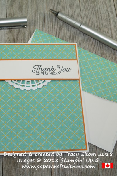 Simple card with thank you so very much sentiment from the Flourishing Phrases Stamp Set and patterned Tea Room Specialty DSP from Stampin' Up!