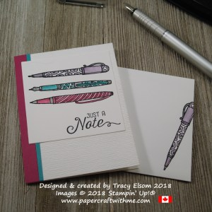 Note card with pens image and just a note sentiment from the Crafting Forever and Flourishing Phrases Stamp Sets from Stampin' Up!