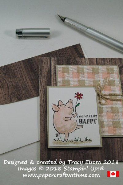 You make me happy card with a watercoloured image from The This Little Piggy Stamp Set and background panel using the Buffalo Check background Stamp from Stampin' Up!