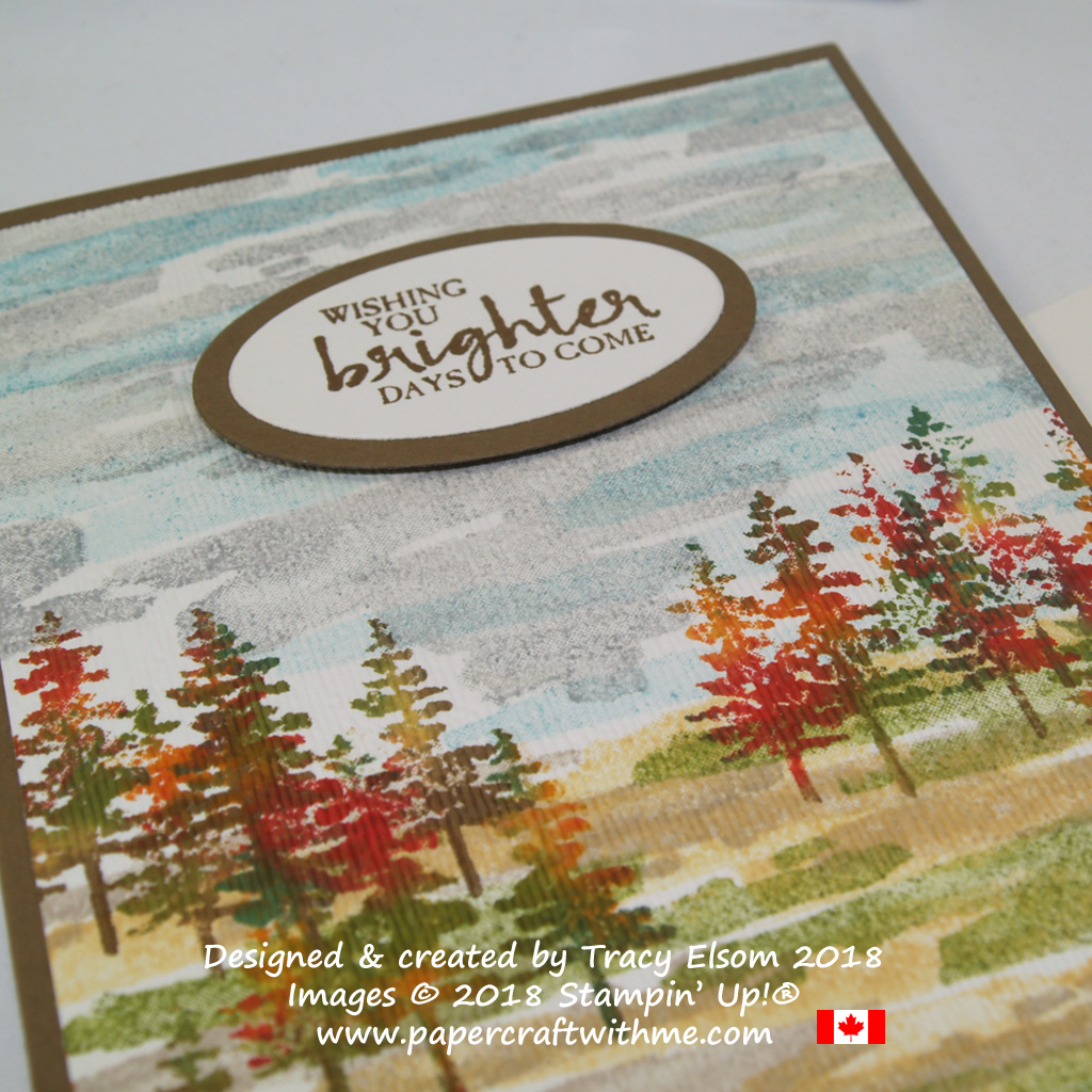 Close up of trees in autumn colours from the Waterfront Stamp Set, with wishing you brighter days sentiment from the Beautiful You Stamp Set from Stampin' Up!