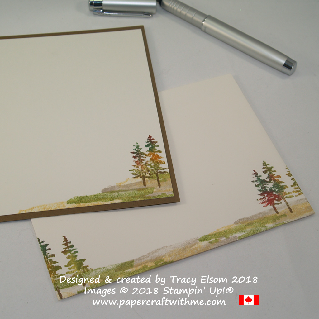 Inside of card and decorated envelope featuring trees in autumn colours from the Waterfront Stamp Set, with wishing you brighter days sentiment from the Beautiful You Stamp Set from Stampin' Up!