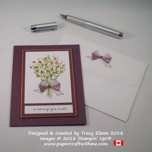 Get well floral bouquet card with a sheer bow created using the Wishing You Well Stamp Set from Stampin' Up!