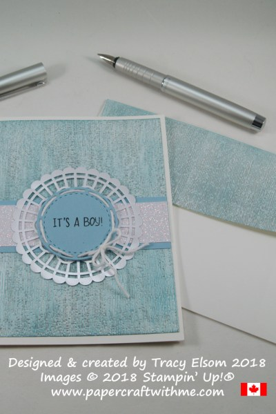 Baby card with laced doily and It's A Boy sentiment from the Sweet Baby Stamp Set from Stampin' Up!