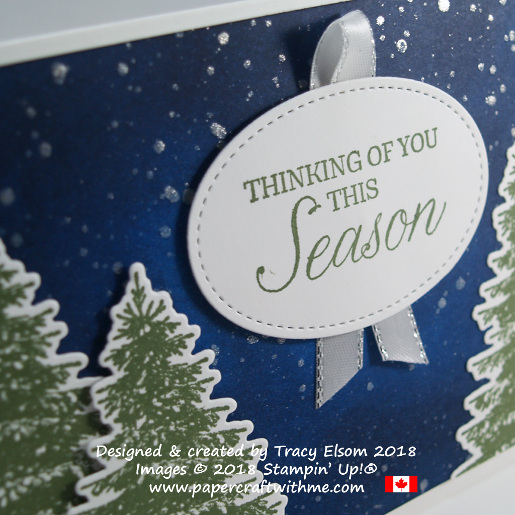 Close up of sponged night sky background and stamped fir trees on this Thinking of You This Season card using the Winter Woods Stamp Set from Stampin' Up!