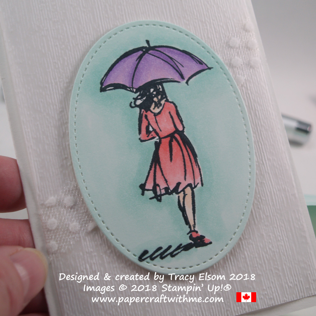 Close up of simple rainy day notecard featuring the umbrella girl image from the Beautiful You Stamp Set and coloured using Stampin' Blends markers from Stampin' Up!