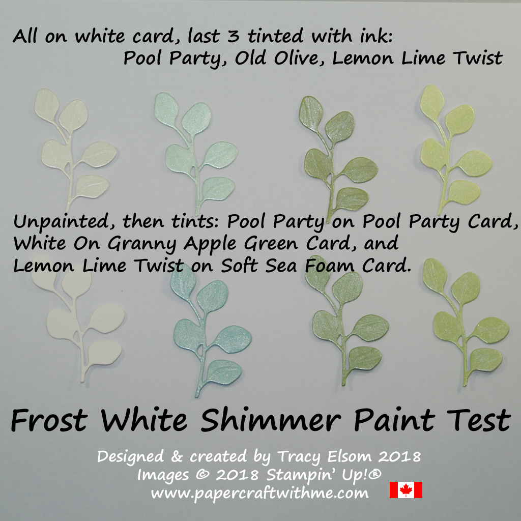 Results of testing Frost White Shimmer Paint on different coloured card, and tinted with ink.
