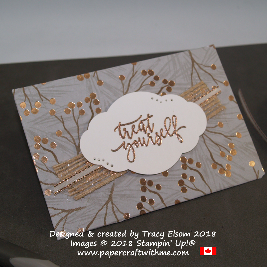 Close up of treat yourself gift card holder created using the Joyous Noel Specialty Designer Series Paper and Picture Perfect Birthday Stamp Set from Stampin' Up!