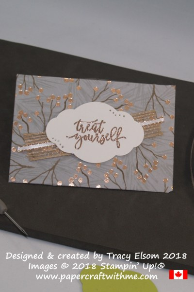 Treat yourself gift card holder created using the Joyous Noel Specialty Designer Series Paper and Picture Perfect Birthday Stamp Set from Stampin' Up!