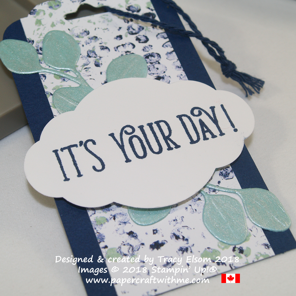 Close up of masculine it's your day gift tag with pearlised leaves created using the In The Woods Framelits Dies and Frost White Shimmer Paint from Stampin' Up!