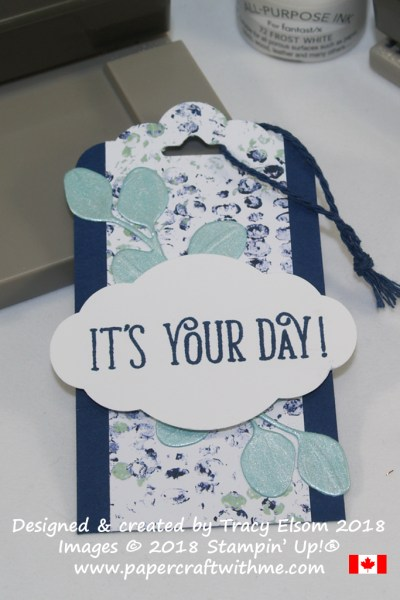 Masculine it's your day gift tag with pearlised leaves created using the In The Woods Framelits Dies and Frost White Shimmer Paint from Stampin' Up!