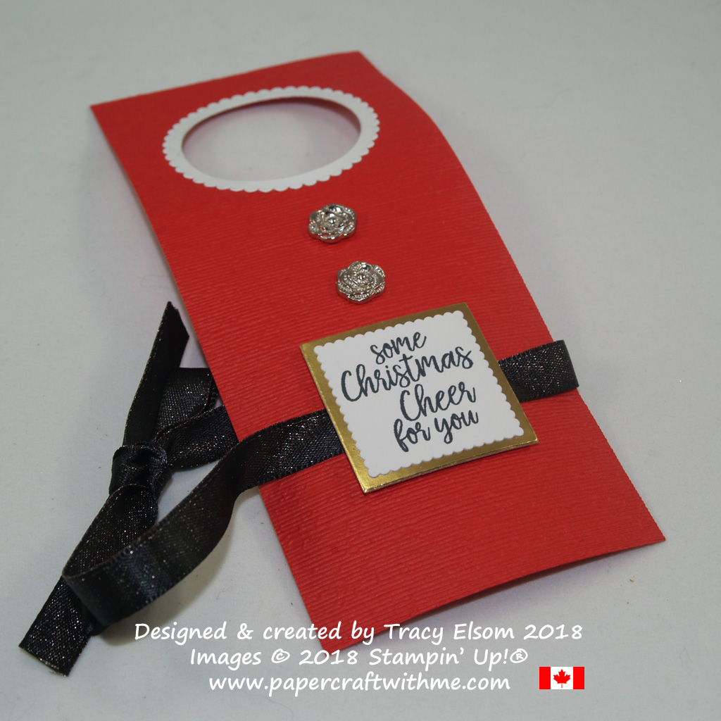 Santa's apron bottle tag created using the Take Out Treats Stamp Set from Stampin' Up!