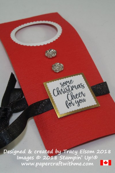 Santa's apron bottle tag with Christmas cheer sentiment from the Takeout Treats Stamp Set from Stampin' Up!