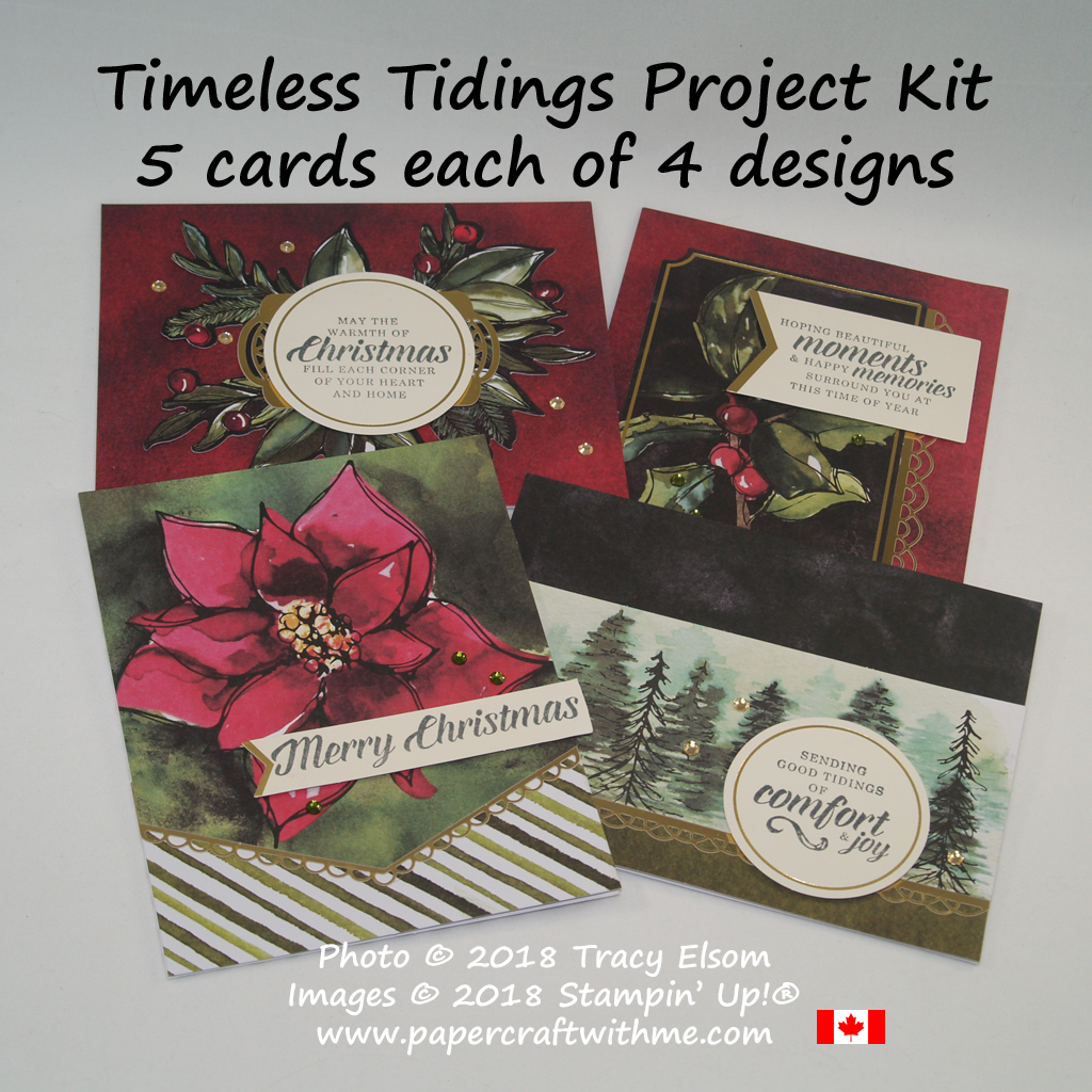 The Timeless Tidings Project Kit from Stampin' Up! makes 20 Christmas cards (5 each of 4 designs)