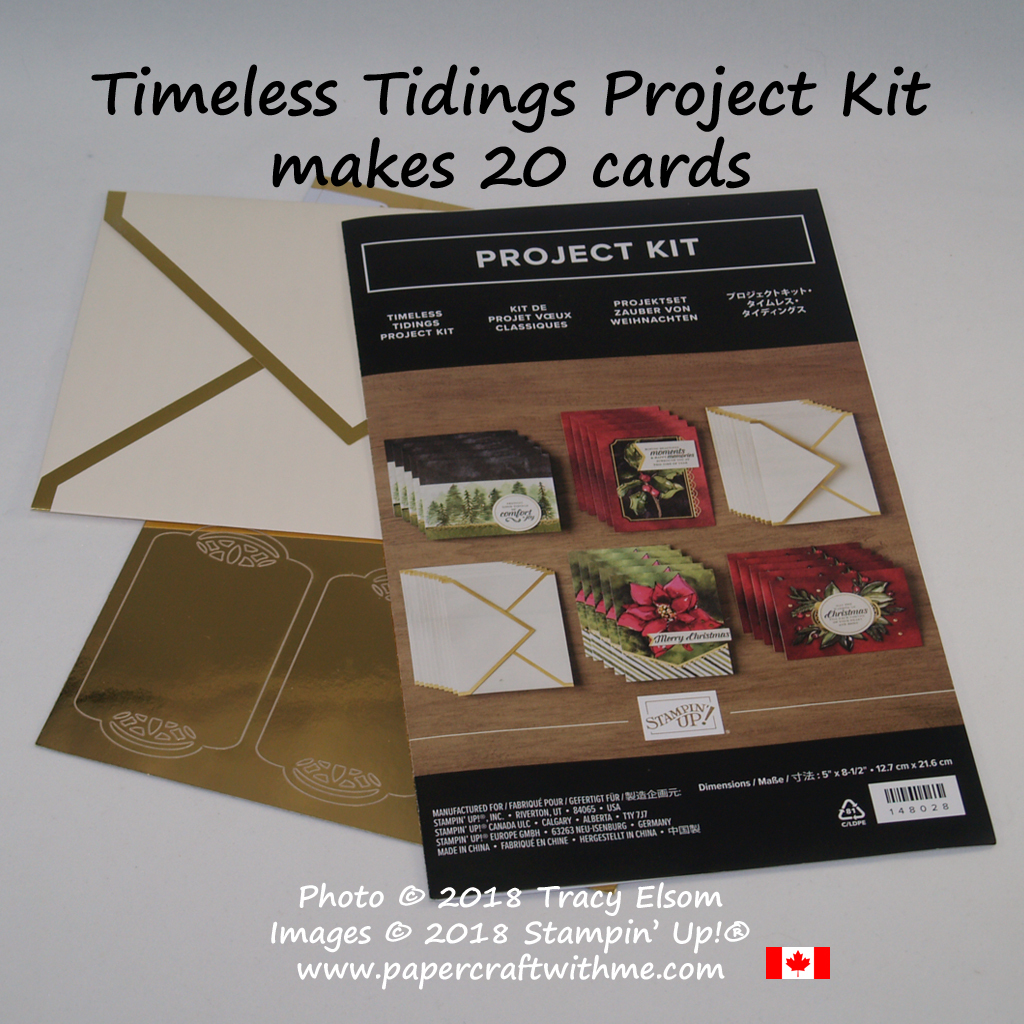 The Timeless Tidings Project Kit from Stampin' Up! makes 20 cards with gold foil accents and includes envelopes with gold foil details.