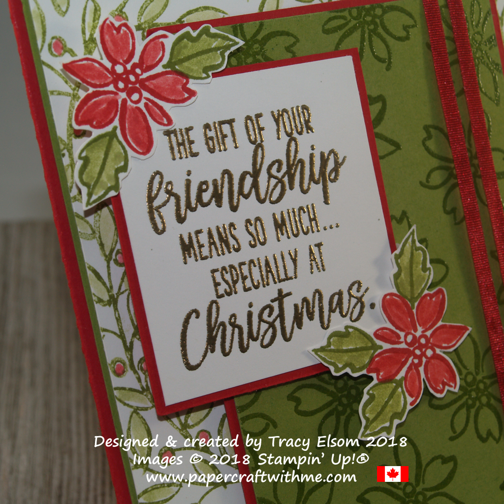 Close up of Christmas friendship card with background stamping using the Feathers & Frost Stamp Set from Stampin' Up!