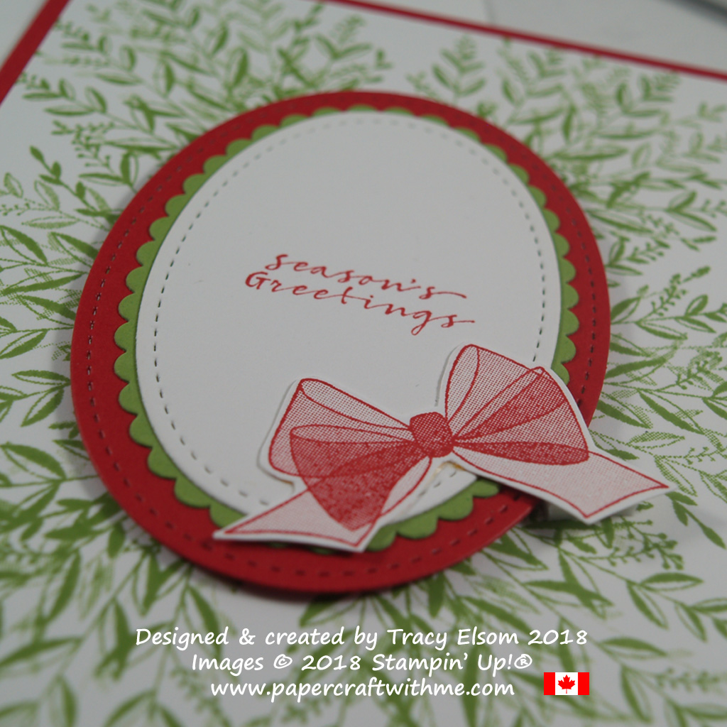 Close up of seasons greetings card created using images from the Wishing You Well Stamp Set from Stampin' Up!