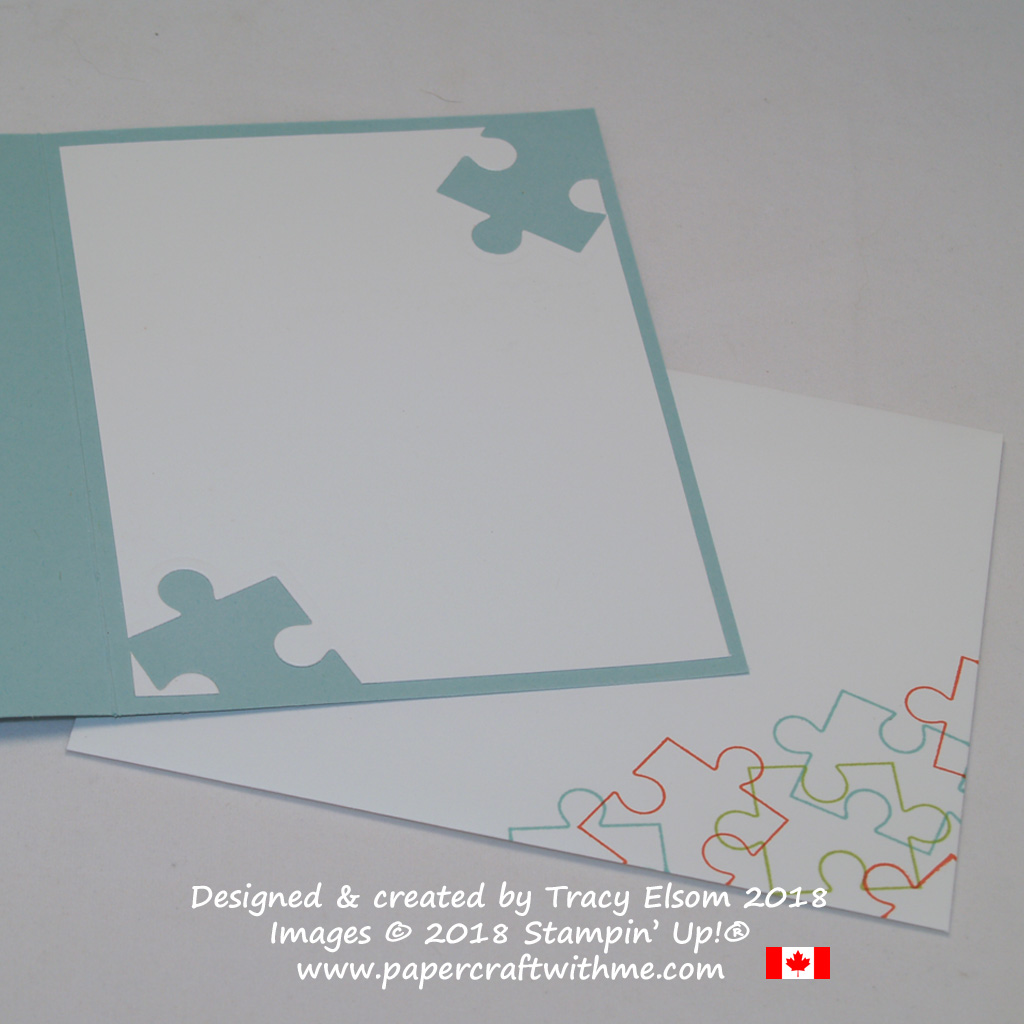 Inside and envelope for puzzle heart card created using the Love You To Pieces Stamp Set and coordinating Puzzle Pieces Thinlits Dies from Stampin' Up!Stampin' Up!