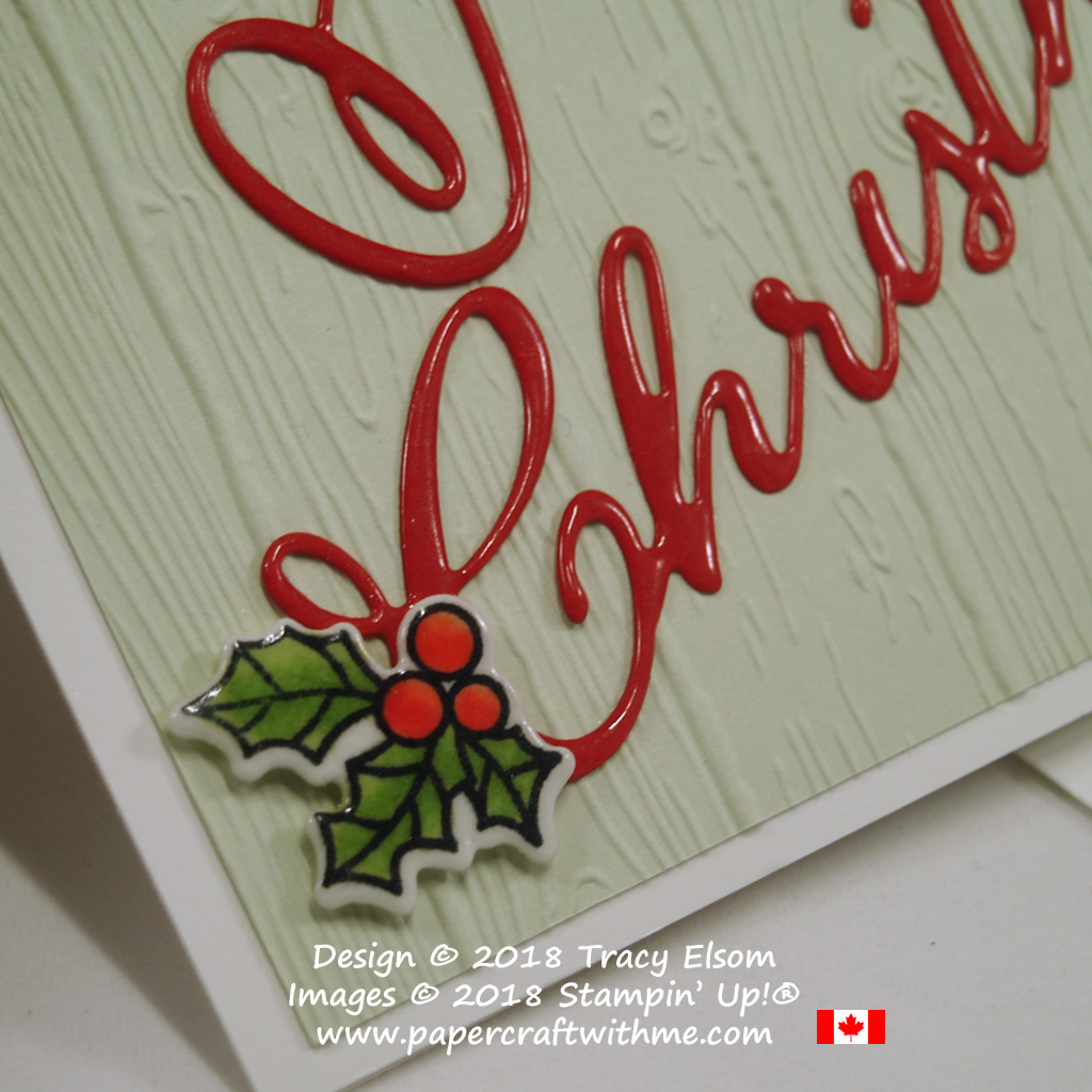 This Christmas card has a deep gloss coating on the holly embellishment and Merry Christmas sentiment over a wood textured background.