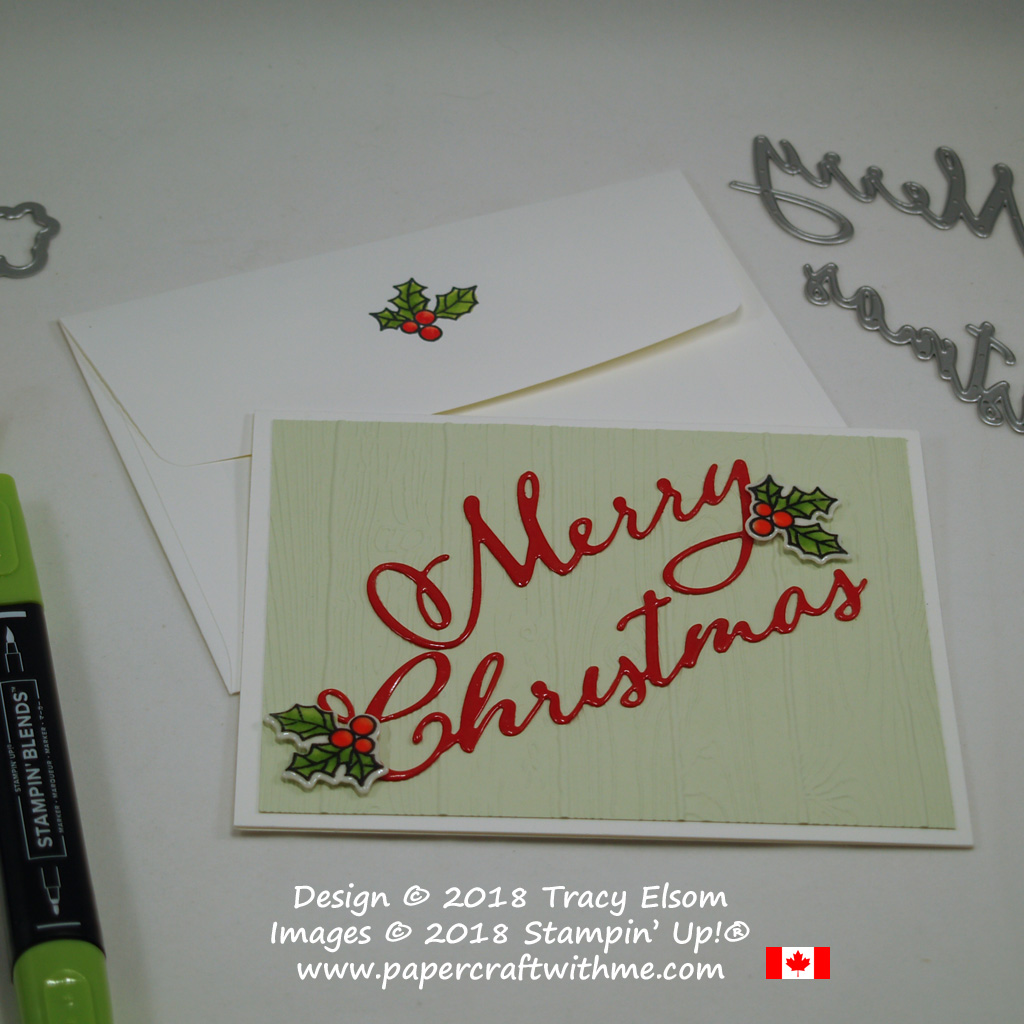 Christmas card with a deep gloss coating on the die-cut sentiment created using the Merry Christmas Thinlits Dies from Stampin' Up!