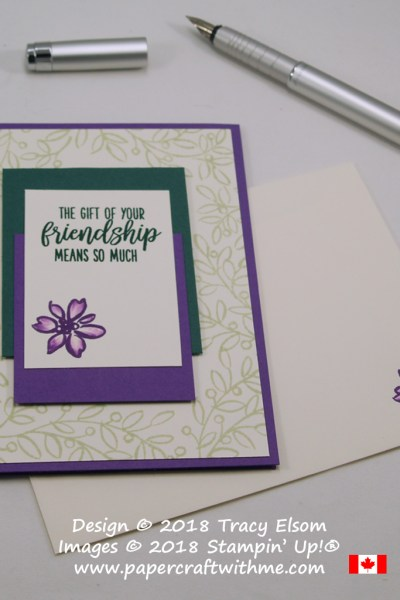Simple card for friends in green and purple with gift of your friendship sentiment from the Feathers & Frost Stamp Set from Stampin' Up!