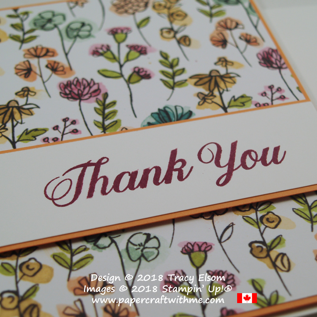 Close up of a simple thank you card created as part of my WCMD 2018 Personal Challenge.