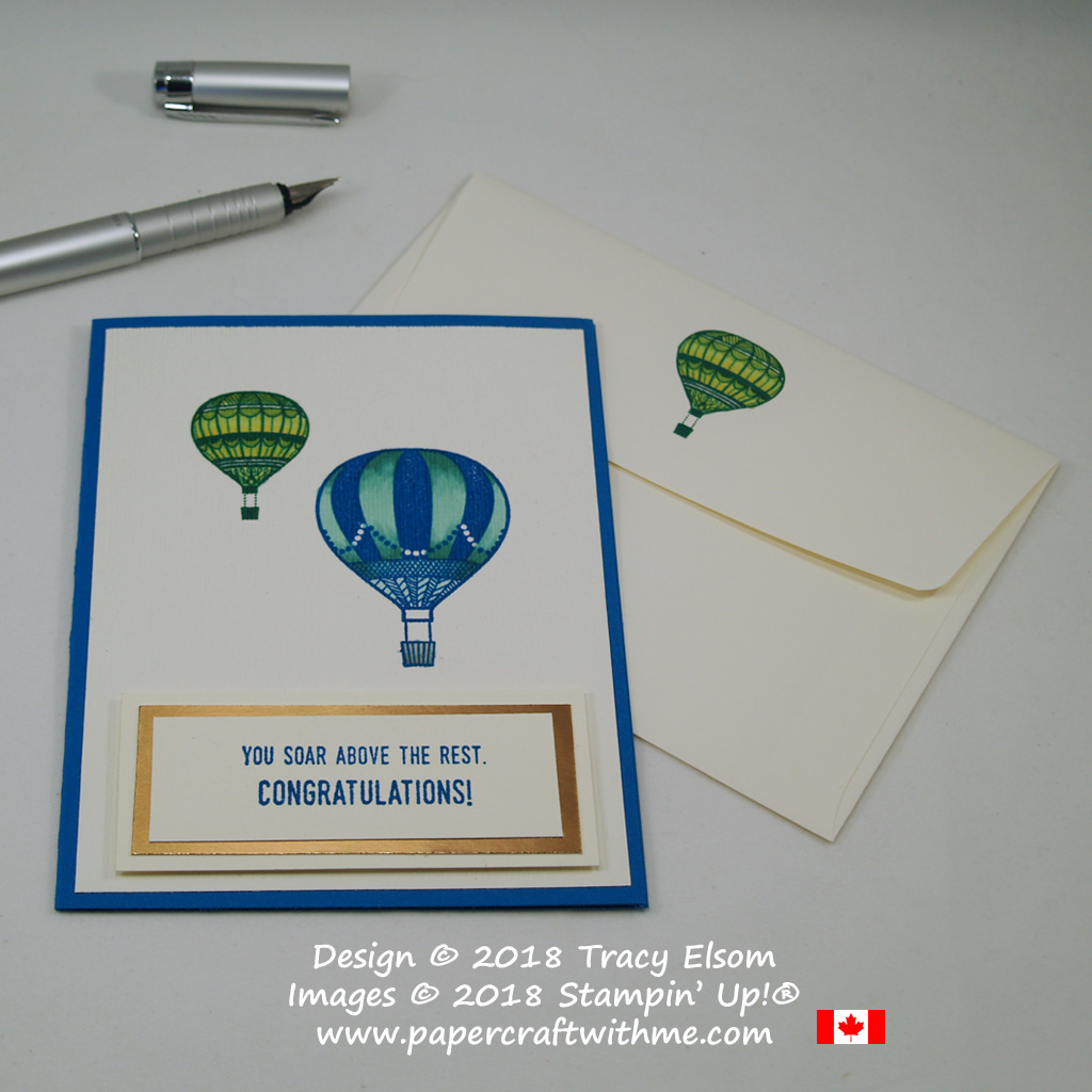 Congratulations card with hot air balloons in an embossed layer created using the Lift Me Up Stamp Set and Subtle Dynamic Textured Impressions Embossing Folder from Stampin' Up!