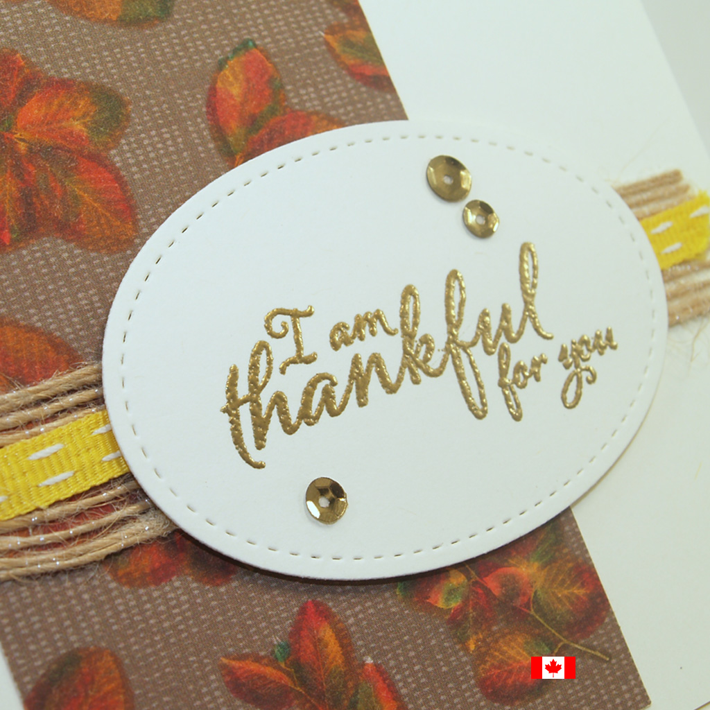 Close up of thankful for you card created using the Painted Harvest Stamp Set and hand coloured Designer Series Paper from the Natures Poem DSP pack from Stampin' Up!