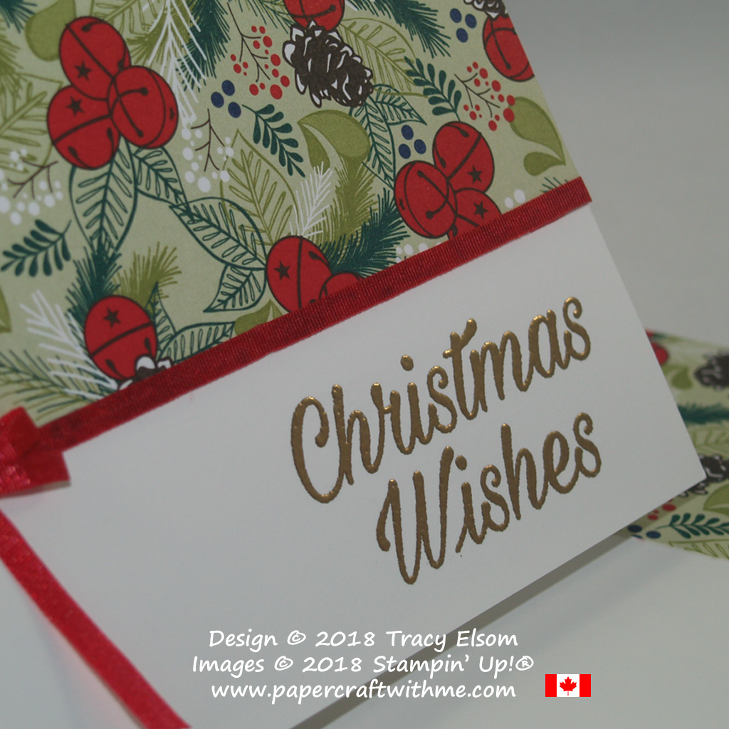 Close up of simple Christmas card created using the Peaceful Poinsettia Stamp Set and Under the Mistletoe patterned paper from Stampin' Up!