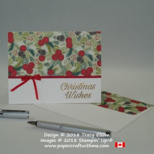 Simple Christmas wishes card created using the Peaceful Poinsettia Stamp Set and Under the Mistletoe patterned paper from Stampin' Up!