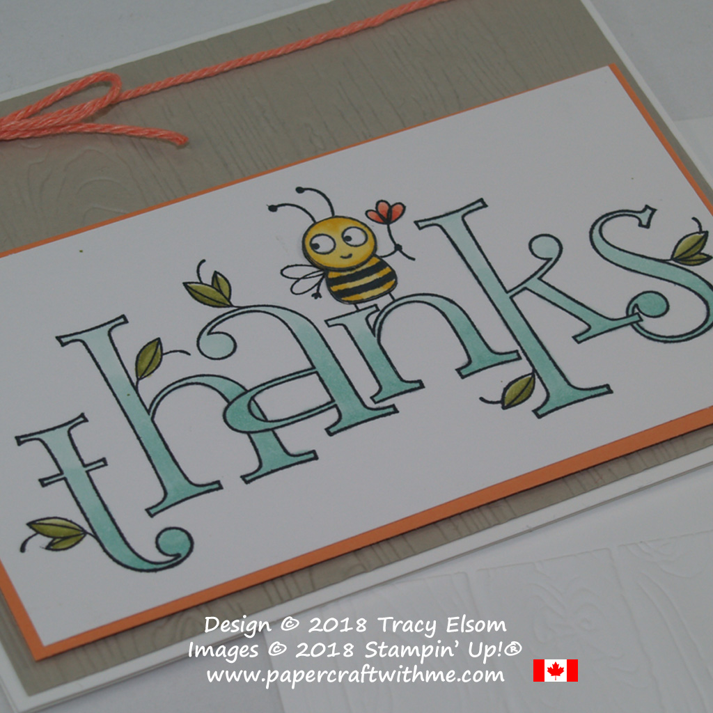 Close up of thanks card created using the large Bee Thankful Stamp coloured using Stampin' Blends from Stampin' Up!