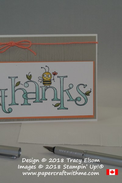 Thanks card created using the large Bee Thankful Stamp coloured using Stampin' Blends from Stampin' Up!