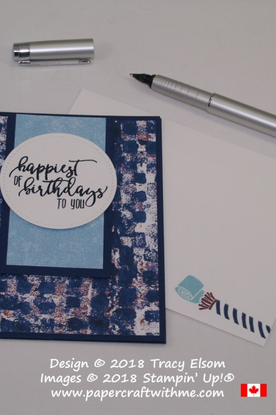 Navy birthday card with happiest of birthdays sentiment created using the Picture Perfect Birthday Stamp Set from Stampin' Up!